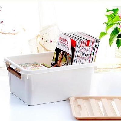 美樂麗 22L物品收納卡扣整理箱 - 米白*8入