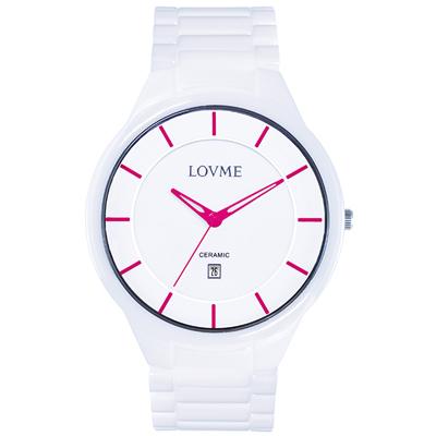 LOVME Concise陶瓷時尚腕錶-白x桃/40mm