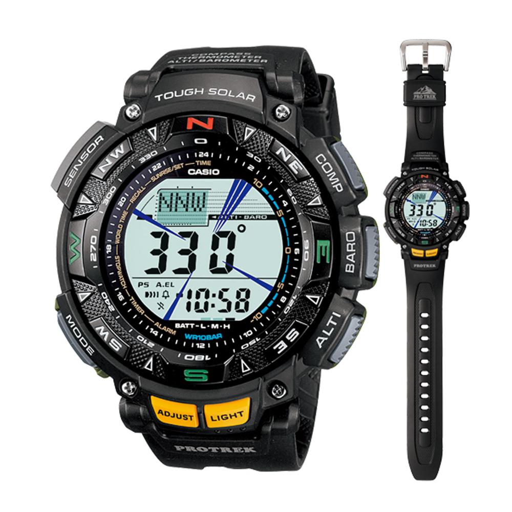 PROTREK 獨創技術登峰造極登山膠帶錶-IP黑