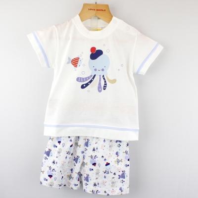 愛的世界 MYBABY 純棉圓領小章魚短袖套裝/6個月