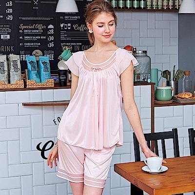 睡衣 優雅彈力珍珠絲兩件式睡衣(R97001-2夢幻粉) 蕾妮塔塔