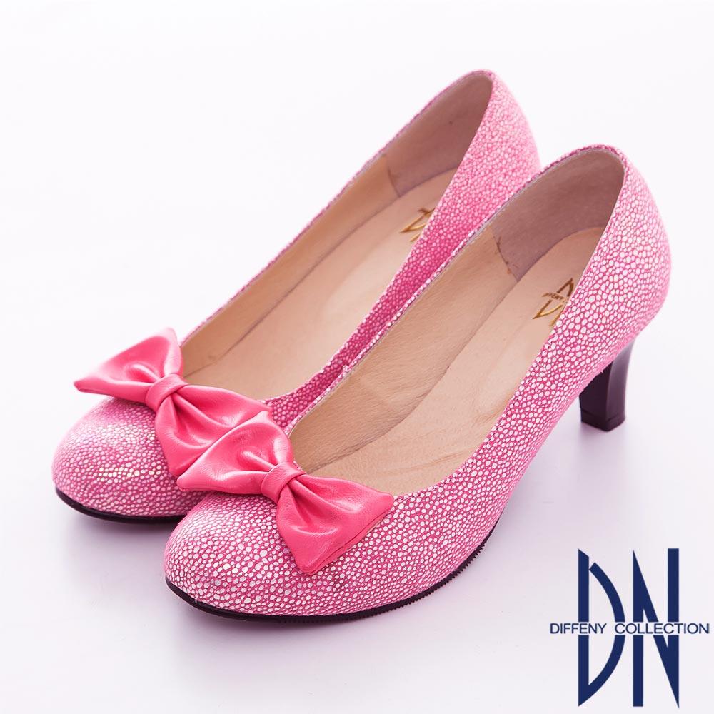DN 優雅風采 鏡面柔軟閃亮蝴蝶中跟鞋 粉
