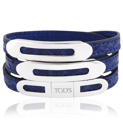 TODS 鱷魚紋真皮三環釦手環-M/L號(寶藍色)