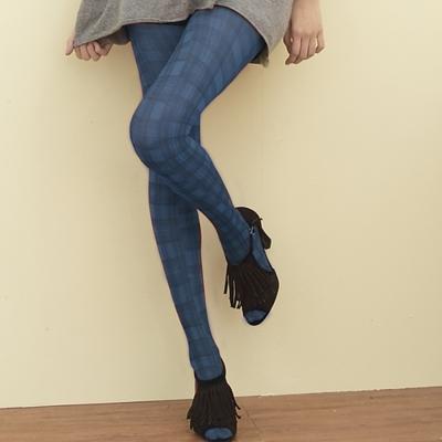 I-shi 雜誌ViVi-蘇格藍格內搭印花襪(藍)