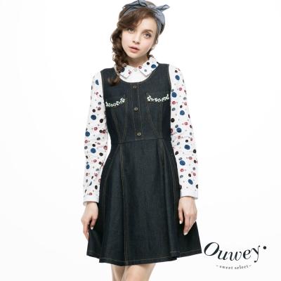 OUWEY歐薇-寶石綴飾側口袋牛仔洋裝