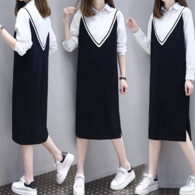 中大尺碼大V黑白羅紋針織吊帶背心裙加白襯衫套裝XL~4L-Ballet Dolly
