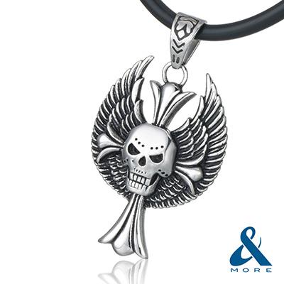 &MORE愛迪莫鈦鍺-MEGA POWER II鍺鈦項鍊 骷髏十字