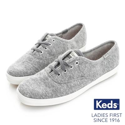 Keds 復古運動綁帶休閒鞋-灰毛圈布
