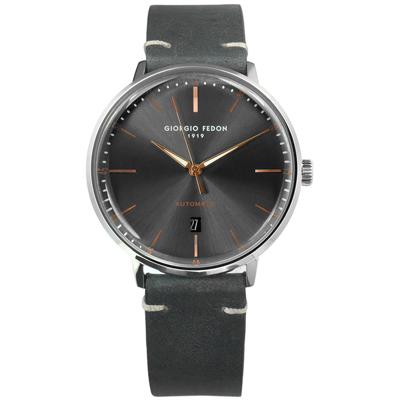 GIORGIO FEDON 1919 自動上鍊日期機械錶皮革手錶- 灰色/42mm