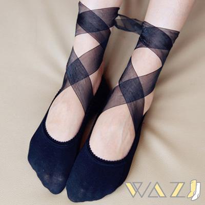 Wazi-多穿式蕾絲緞帶綁帶造型襪 (共三款)