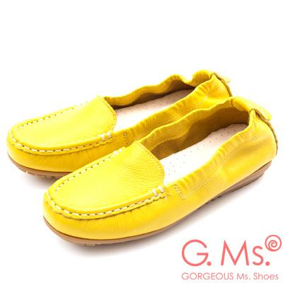 G.Ms. MIT極好穿再進化-軟Q牛皮莫卡辛休閒鞋-黃色
