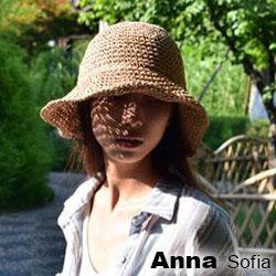 【滿額再75折】AnnaSofia 簡約編織 寬簷遮陽草帽漁夫帽草帽(駝系)