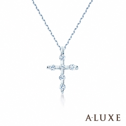 A-LUXE 亞立詩 Petite系列 白K金十字架項鍊