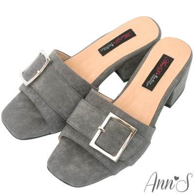 Ann'S時髦職人-方扣韓版粗跟涼拖鞋-灰
