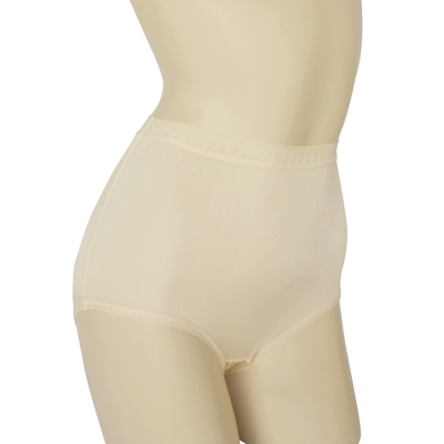 三角褲 100%蠶絲蕾絲高腰內褲2件組M-XL(膚色) Seraphic