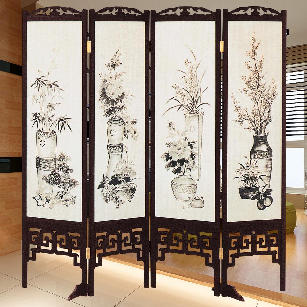 時尚屋 中國風國畫潑墨四季花6尺雙面屏風 寬182cm 多色可選-免組