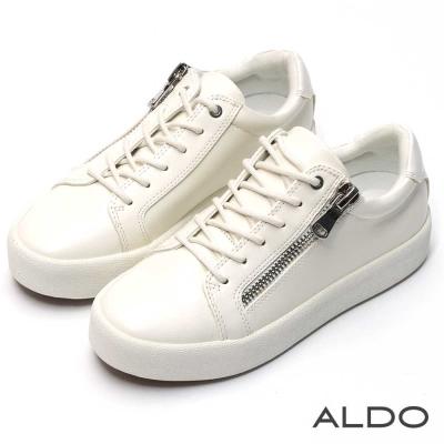 ALDO 原色金屬拉鍊綁帶式厚底休閒鞋~氣質白色