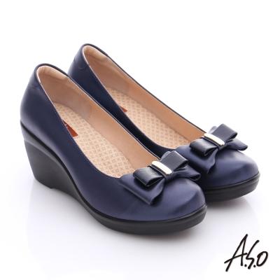 A.S.O 美型氣墊 真皮奈米雙蝴蝶結飾氣墊楔型鞋 藍