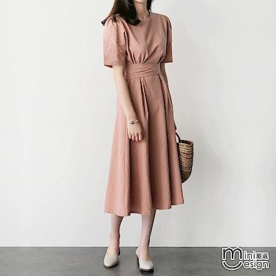棉麻復古高腰繫帶中長款洋裝 粉色-mini嚴選