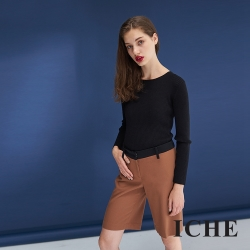 ICHE衣哲 暖時尚羊毛簡約挺版鉛筆造型百搭馬褲-咖
