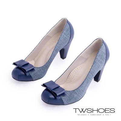 TWshoes真皮甜美名媛蝴蝶結中跟鞋-藍