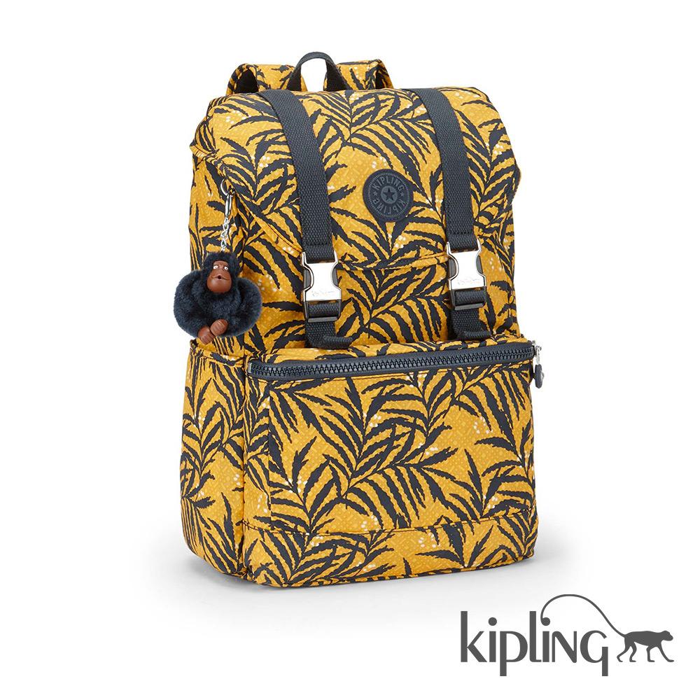 Kipling 後背包 熱情棕梠葉-大