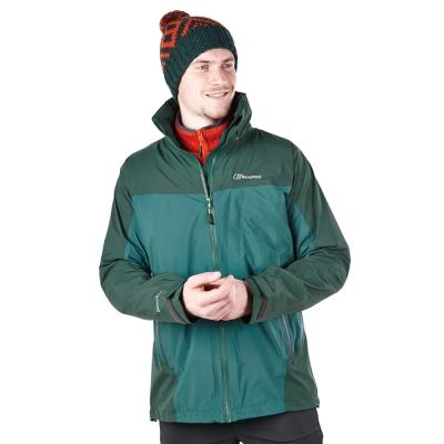 【Berghaus貝豪斯】男款GT防水透氣拆帽外套H22MT4-綠