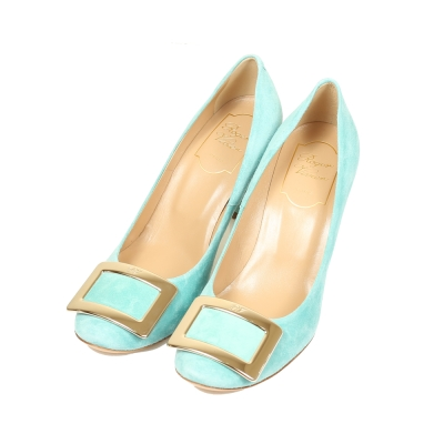 Roger Vivier 經典金屬方框麂皮高跟鞋(淺水藍)