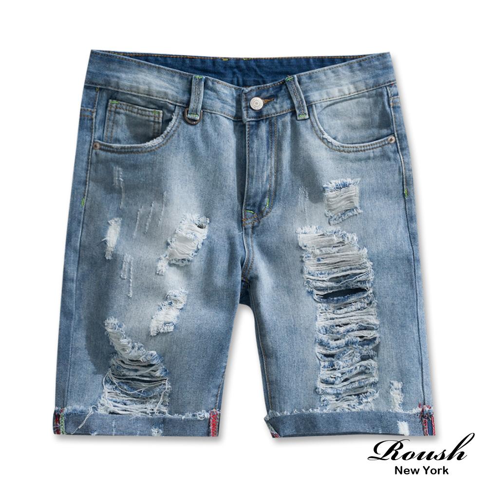 Roush 水洗刷破抽鬚牛仔短褲