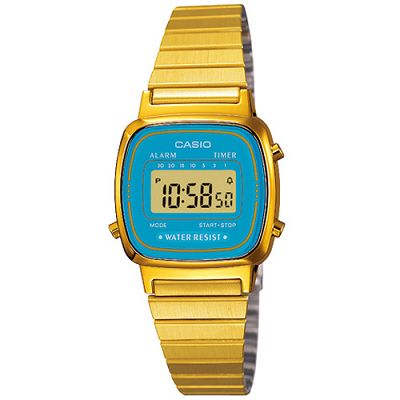 CASIO 復古風金色電子錶(LA-670WGA-2)-水藍框/30.3mm