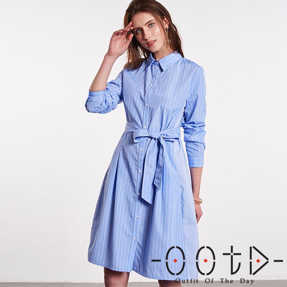 條紋收腰帶長袖襯衫洋裝(淺藍色)-OOTD