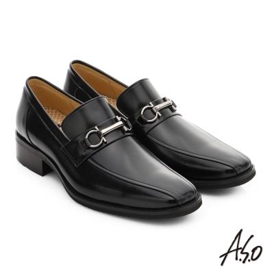 A.S.O 勁步雙核心 全真皮金屬飾扣直套式奈米紳士鞋 黑色