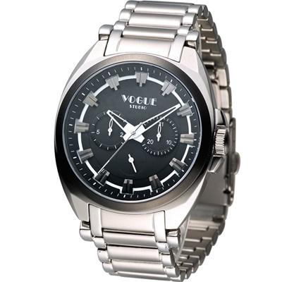 VOGUE 韓式極簡休閒時尚腕錶-黑/42mm
