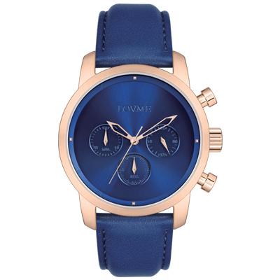 LOVME Stardust時尚手錶-IP玫x藍/43mm