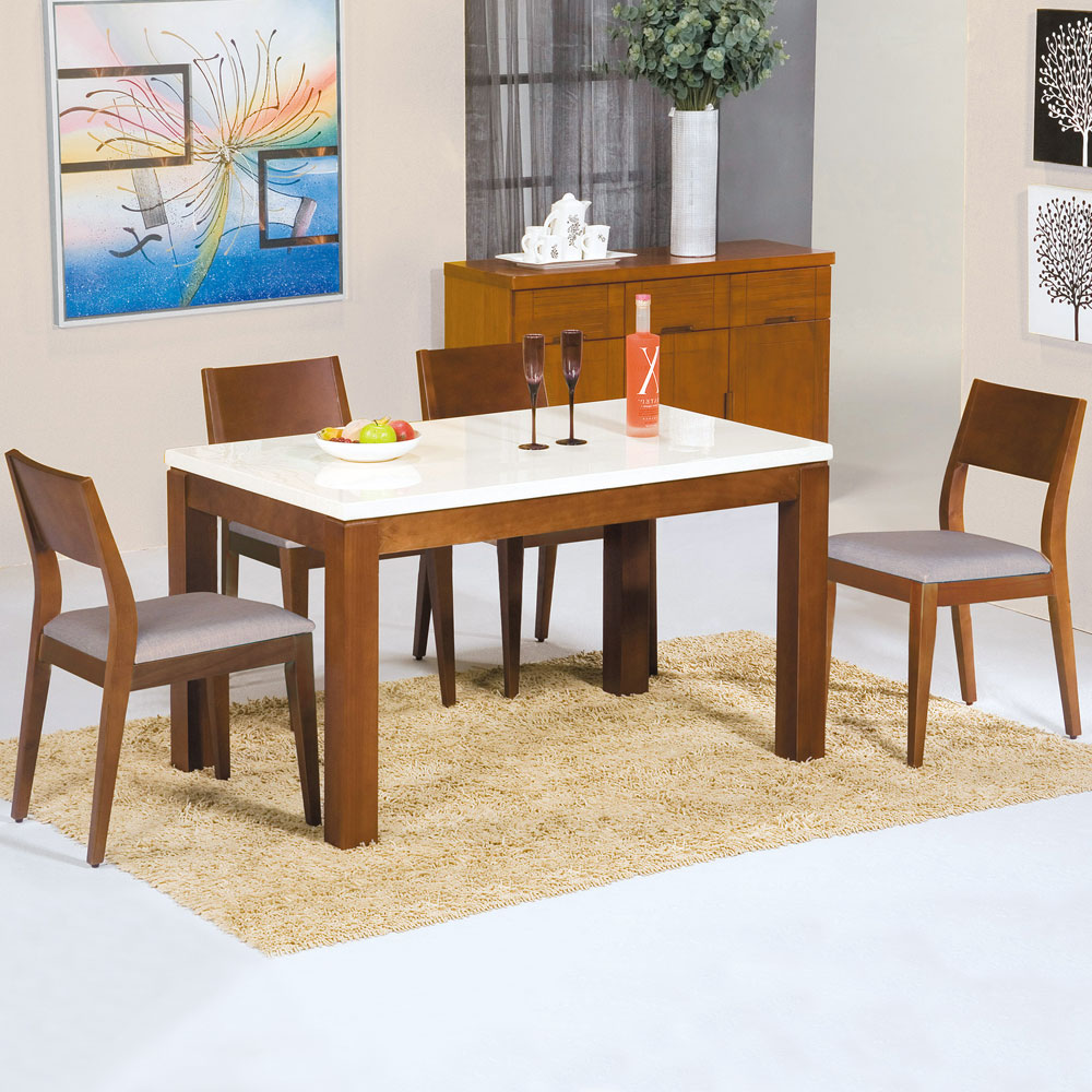 Homelike 園子4.3尺石面餐桌椅組(一桌四椅)-130x80x76cm