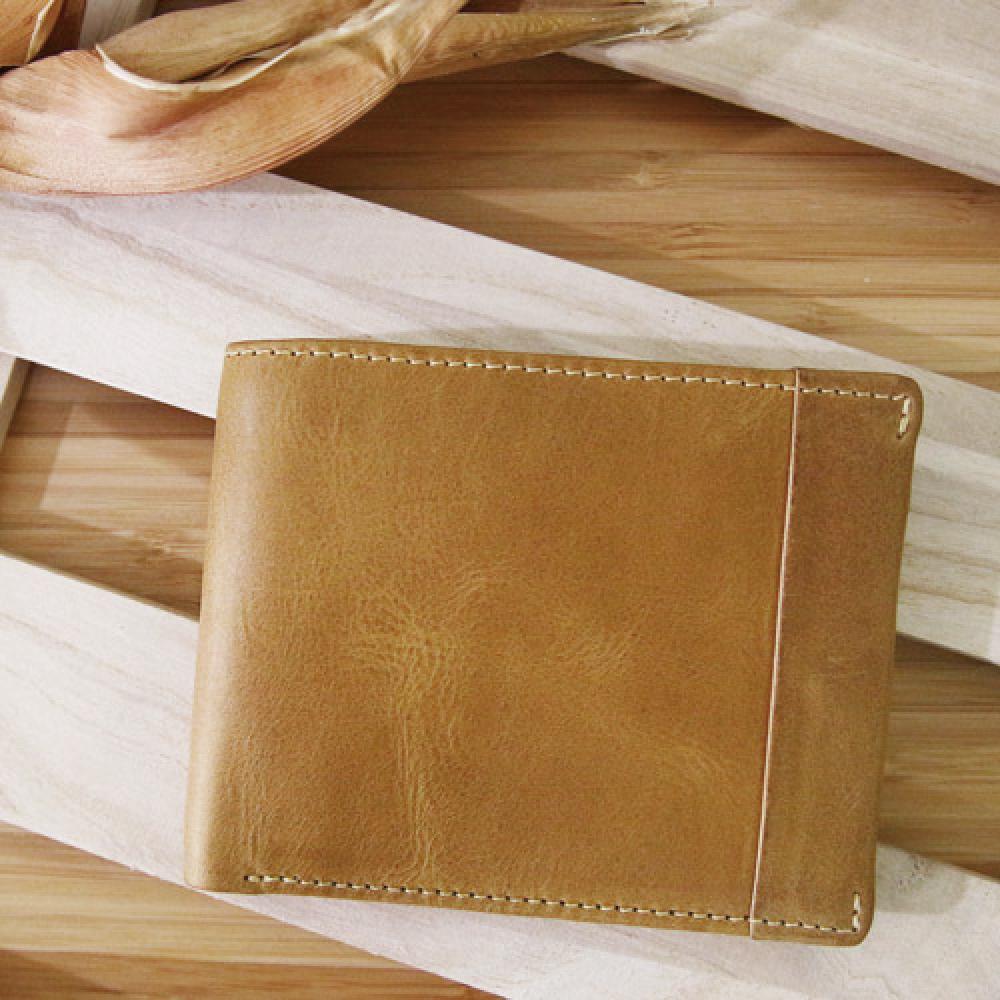 CALTAN - 男用皮夾鈔票夾卡片夾短夾名片夾皮革壓條裝飾-1930ht