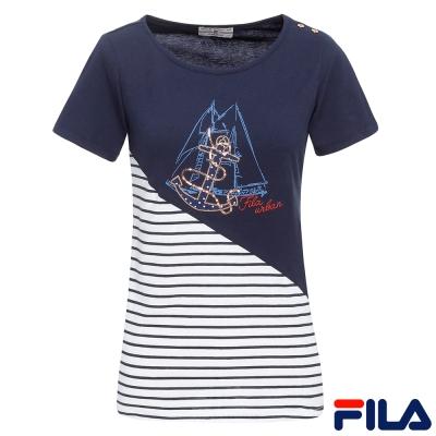 FILA女條紋圓領T恤-深丈青5TER-1710-DB