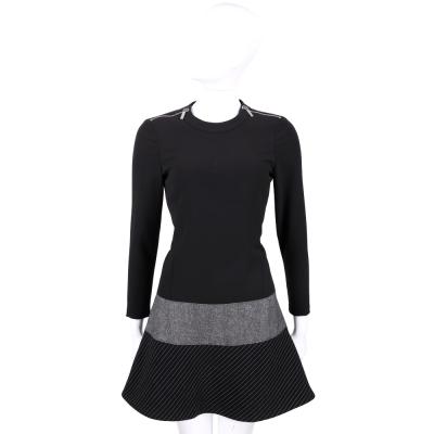 MICHAEL KORS 黑色拼接設計長袖洋裝(50%WOOL)