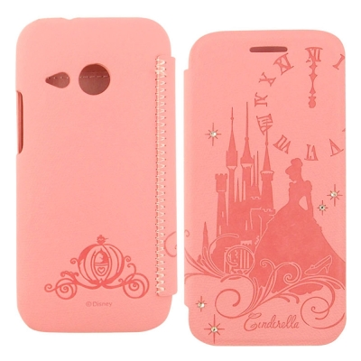 Disney HTC One mini 2灰姑娘時尚水鑽壓紋皮套