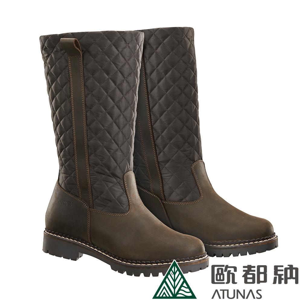 【ATUNAS 歐都納】女款高筒經典菱格紋保暖雪靴GC1-1607褐