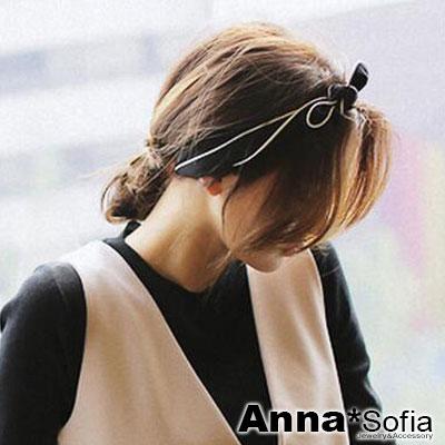 AnnaSofia-雪紡滾白弧邊-兔耳髮帶髮圈領結