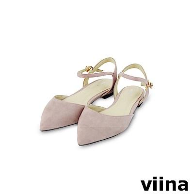 viina-都會系列-尖頭絨面繫帶平底鞋-浪漫紫