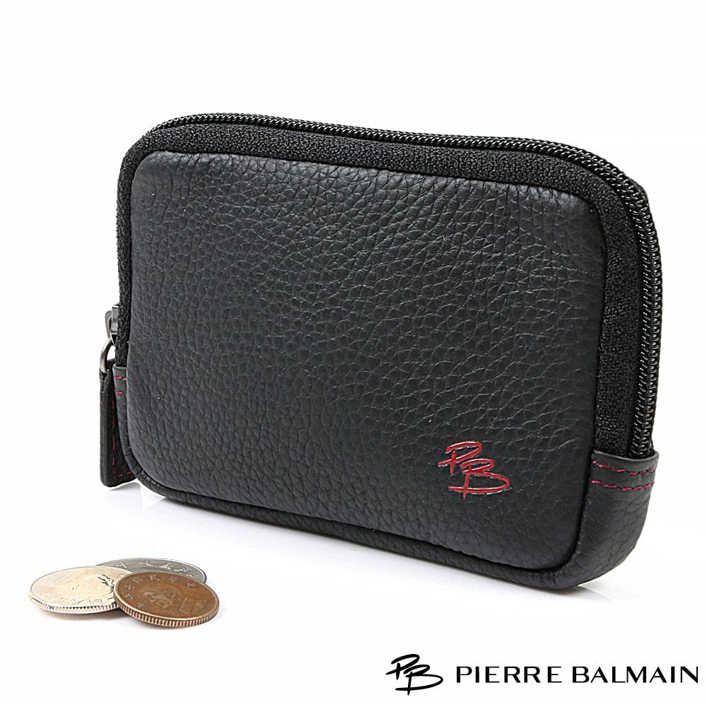 【PB皮爾帕門】潮流型男頭層牛皮真皮零錢袋(含鑰匙鍊)