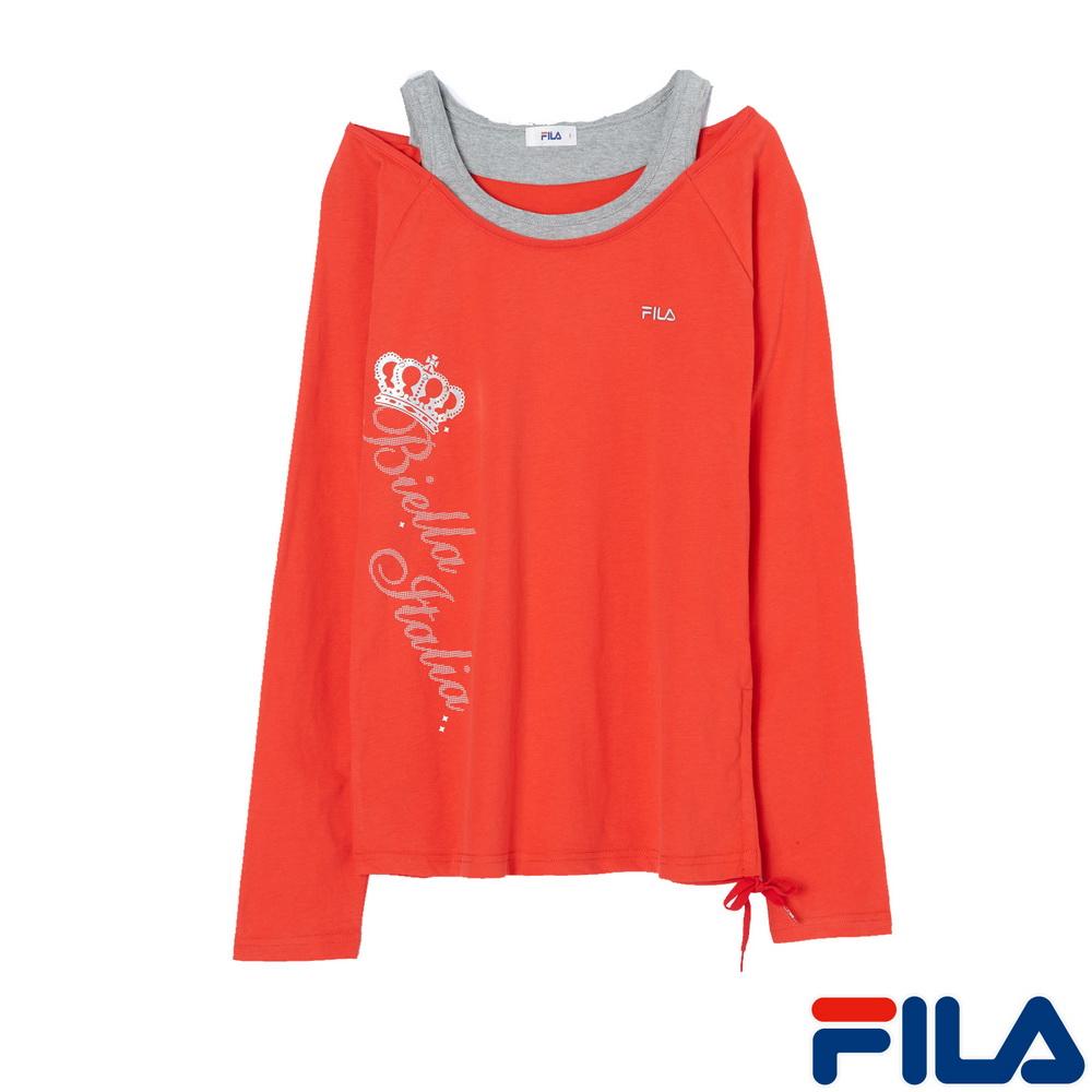 【FILA】女性假兩件式棉柔衫(熱情紅)5TEM-5456-LR