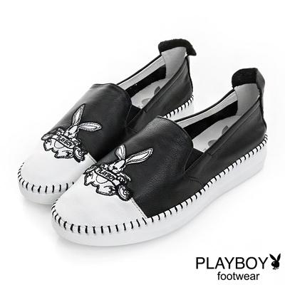 PLAYBOY 流行規則 黑白配色兔子樂福鞋-黑(女)