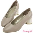 Grace gift-全真皮素面拼接造型中跟鞋 灰
