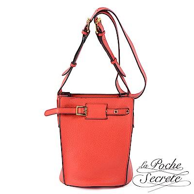 La Poche Secrete 水桶包 真皮皮釦水桶包-魅力紅