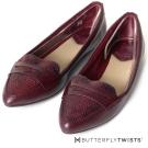BUTTERFLY TWISTS-尖楦蛇紋壓紋記憶軟墊平底鞋-紅