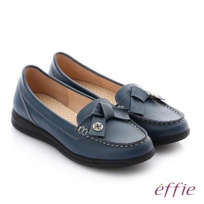 effie 彈力舒芙 牛皮蝴蝶結奈米彈力平底休閒鞋 深藍色