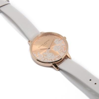 Olivia Burton 玫瑰金錶面 淺灰白真皮錶帶-玫瑰金錶框/38mm